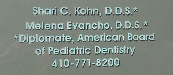 Signage for Pediatric dentist Dr. Shari Kohn